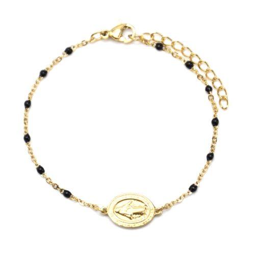 Bracelet-Fine-Chaine-Acier-Dore-et-Mini-Perles-Email-Noir-avec-Ovale-Vierge-Marie