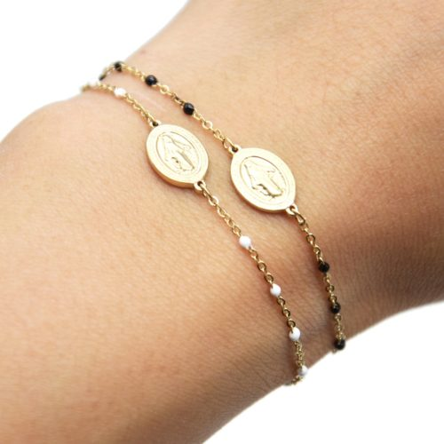 Bracelet-Fine-Chaine-Acier-Dore-et-Mini-Perles-Email-avec-Ovale-Vierge-Marie