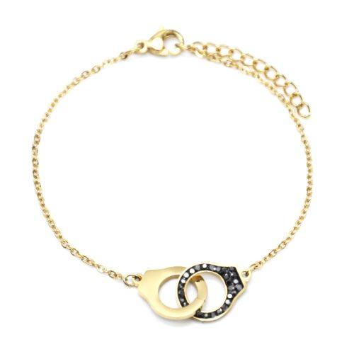 Bracelet-Fine-Chaine-avec-Charm-Menottes-Acier-Dore-et-Strass-Gris