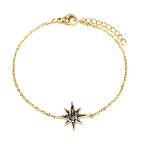 Bracelet-Fine-Chaine-avec-Charm-Etoile-Polaire-Acier-Dore-et-Strass-Gris