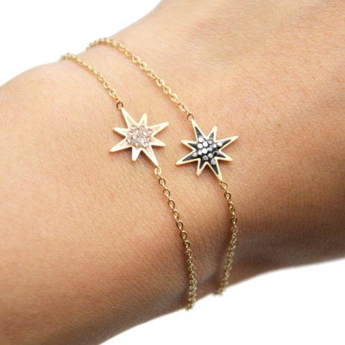 Bracelet-Fine-Chaine-avec-Charm-Etoile-Polaire-Acier-Dore-et-Strass