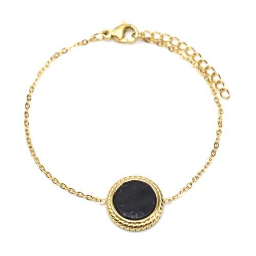 Bracelet-Fine-Chaine-avec-Charm-Pierre-Marbre-Noir-Contour-Acier-Dore