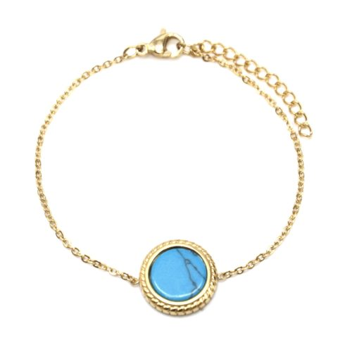 Bracelet-Fine-Chaine-avec-Charm-Pierre-Marbre-Turquoise-Contour-Acier-Dore