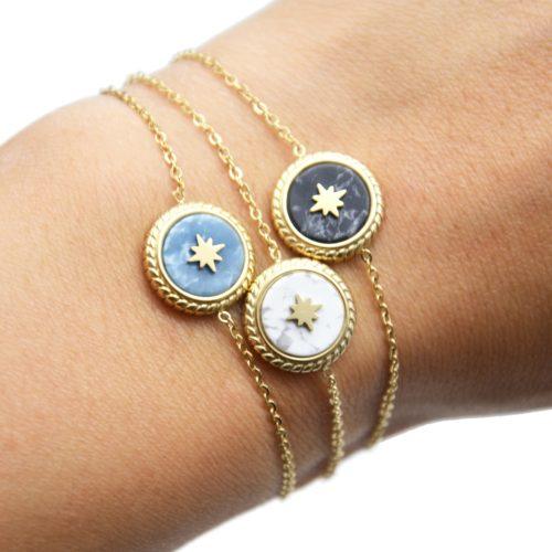 Bracelet-Fine-Chaine-avec-Charm-Pierre-Marbre-et-Etoile-Polaire-Acier-Dore