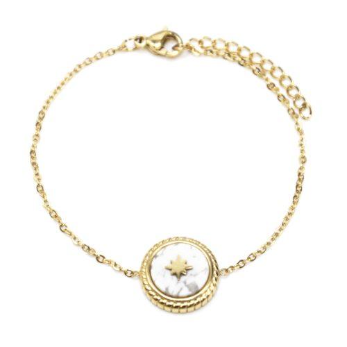 Bracelet-Fine-Chaine-avec-Charm-Pierre-Marbre-Blanc-et-Etoile-Polaire-Acier-Dore
