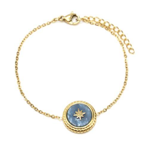 Bracelet-Fine-Chaine-avec-Charm-Pierre-Marbre-BleuGris-et-Etoile-Polaire-Acier-Dore