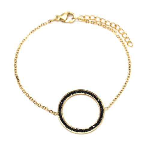 Bracelet-Fine-Chaine-avec-Charm-Cercle-Contour-Acier-Dore-et-Strass-Noir