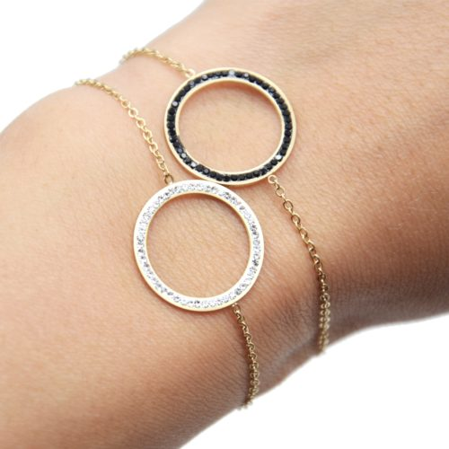 Bracelet-Fine-Chaine-avec-Charm-Cercle-Contour-Acier-Dore-et-Strass