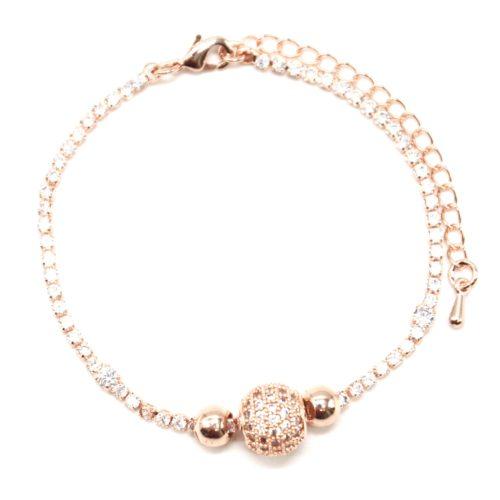 Bracelet-1-Rangee-Strass-avec-Charm-Boule-Strass-Zirconium-et-Metal-Or-Rose