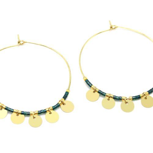 Boucles-dOreilles-Creoles-Metal-Dore-avec-Perles-Vertes-et-Pampilles