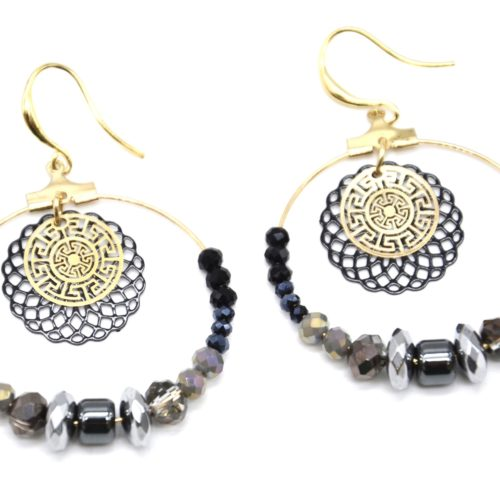 Boucles-dOreilles-Pendantes-Cercle-Metal-Dore-avec-Perles-Noir-Gris-et-Rosace