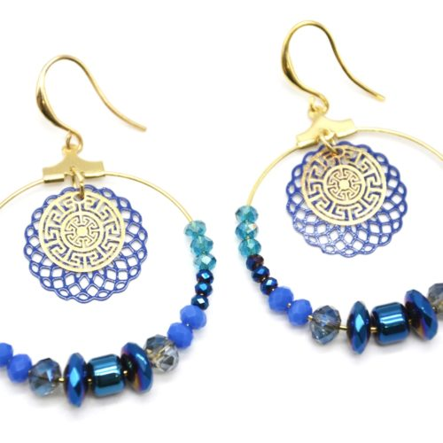 Boucles-dOreilles-Pendantes-Cercle-Metal-Dore-avec-Perles-Bleues-et-Rosace