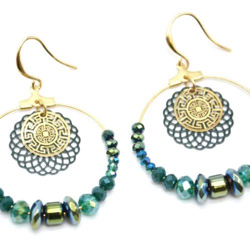 Boucles-dOreilles-Pendantes-Cercle-Metal-Dore-avec-Perles-Vertes-et-Rosace