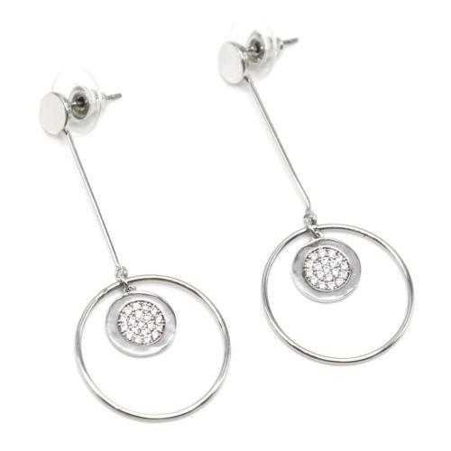 Boucles-dOreilles-Pendantes-Multi-Cercles-Metal-Argente-et-Strass-Zirconium