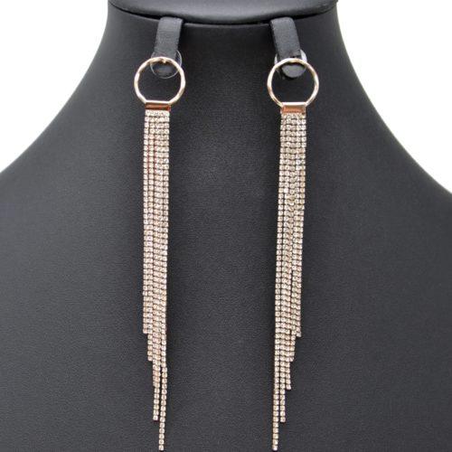 Boucles-dOreilles-Pendantes-Cercle-Metal-Or-Rose-et-Multi-Chaines-Strass