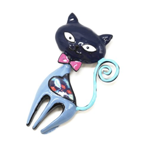 Broche-Chat-Metal-Peint-Bleu-avec-Motif-Paisley-et-Noeud-Papillon