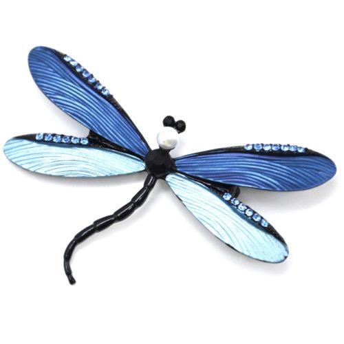 Broche-Libellule-Metal-Peint-Relief-Bleu-avec-Strass-Perle-et-Pierre-Noire