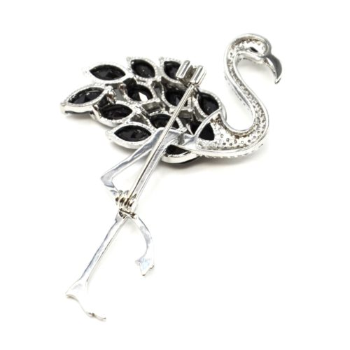 Broche-Epingle-Flamant-Rose-Metal-Argente-avec-Strass-Zirconium-et-Pierres-Noires