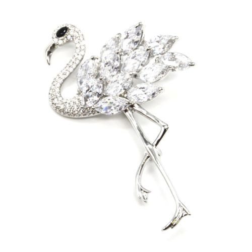 Broche-Epingle-Flamant-Rose-Metal-Argente-avec-Strass-Zirconium-et-Pierres-Transparentes