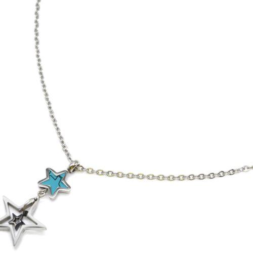 Collier-Fine-Chaine-avec-Pendentif-Triple-Etoiles-Acier-Argente-et-Pierre-Turquoise
