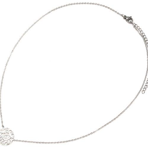 Collier-Fine-Chaine-avec-Pendentif-Medaille-Relief-Acier-Argente