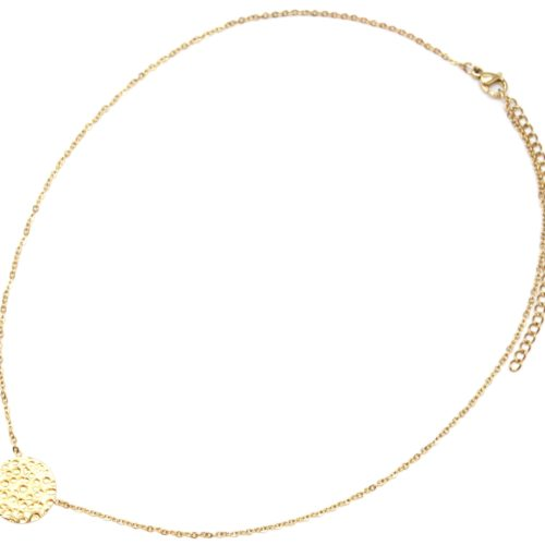 Collier-Fine-Chaine-avec-Pendentif-Medaille-Relief-Acier-Dore