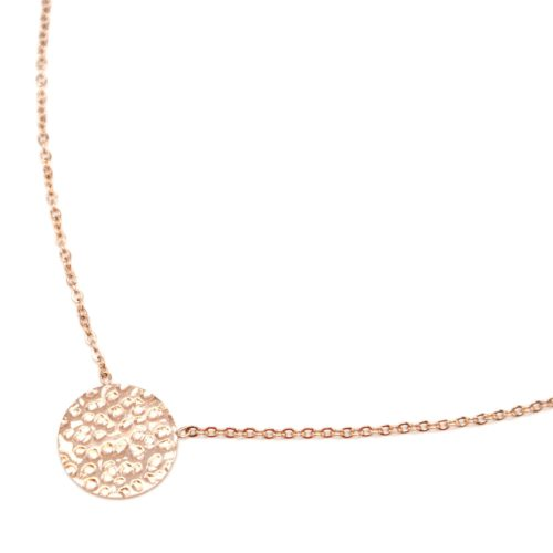 Collier-Fine-Chaine-avec-Pendentif-Medaille-Relief-Acier-Or-Rose