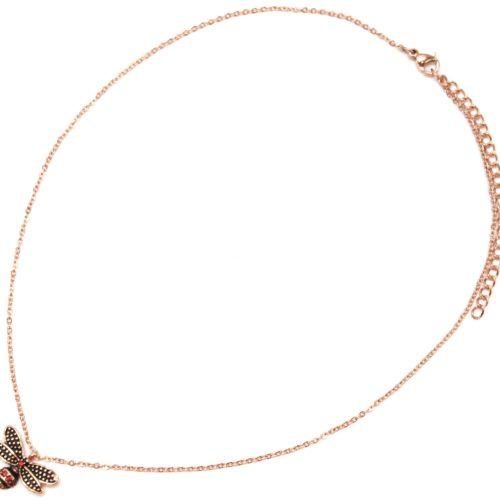 Collier-Fine-Chaine-avec-Pendentif-Abeille-Effet-Vieilli-Acier-Or-Rose-et-Strass