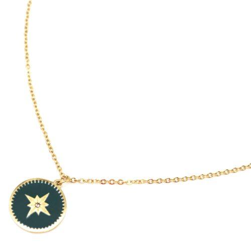Collier-Fine-Chaine-Acier-Dore-avec-Cercle-Email-Vert-Sapin-Motif-Etoile-Polaire