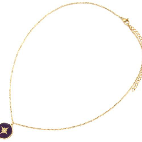 Collier-Fine-Chaine-Acier-Dore-avec-Cercle-Email-Violet-Fonce-Motif-Etoile-Polaire