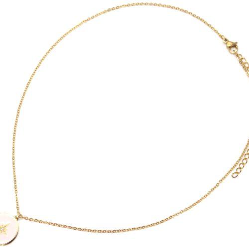 Collier-Fine-Chaine-Acier-Dore-avec-Cercle-Email-Rose-Pale-Motif-Etoile-Polaire