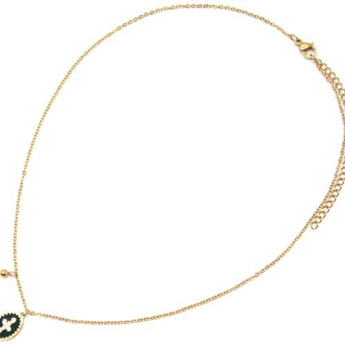 Collier-Fine-Chaine-Acier-Dore-avec-Ovale-Email-Vert-Sapin-Motif-Croix