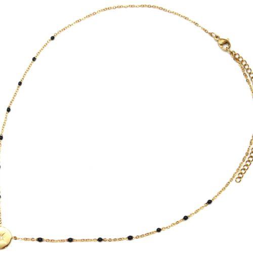 Collier-Fine-Chaine-Mini-Perles-Email-Noir-et-Cercle-Etoile-Polaire-Acier-Dore