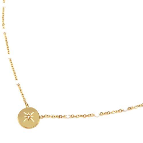 Collier-Fine-Chaine-Mini-Perles-Email-Blanc-et-Cercle-Etoile-Polaire-Acier-Dore