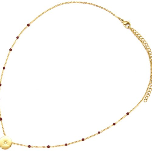 Collier-Fine-Chaine-Mini-Perles-Email-Bordeaux-et-Cercle-Etoile-Polaire-Acier-Dore