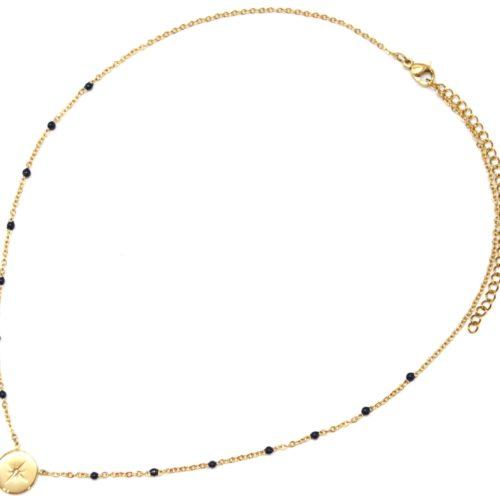 Collier-Fine-Chaine-Mini-Perles-Email-Bleu-Nuit-et-Cercle-Etoile-Polaire-Acier-Dore