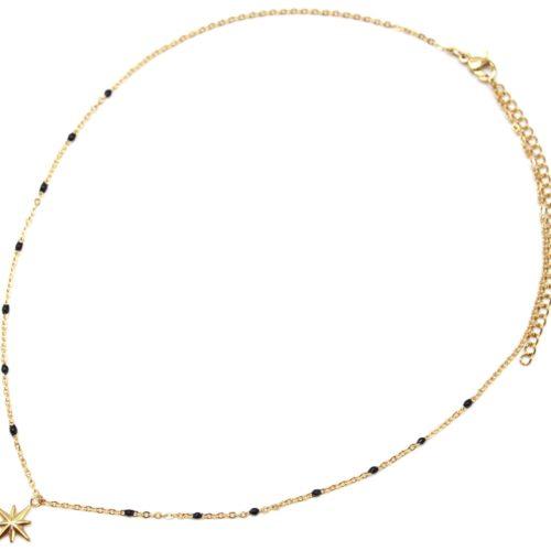 Collier-Fine-Chaine-Mini-Perles-Email-Noir-et-Etoile-Polaire-Acier-Dore