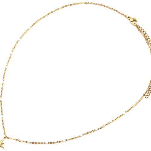 Collier-Fine-Chaine-Mini-Perles-Email-Blanc-et-Etoile-Polaire-Acier-Dore