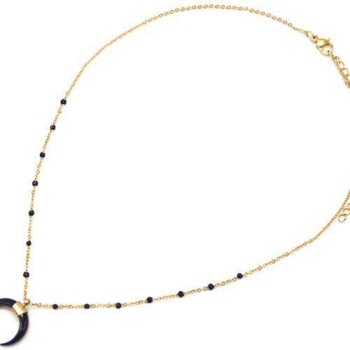 Collier-Fine-Chaine-Mini-Perles-Email-Bleu-Nuit-et-Corne-Resine-Acier-Dore