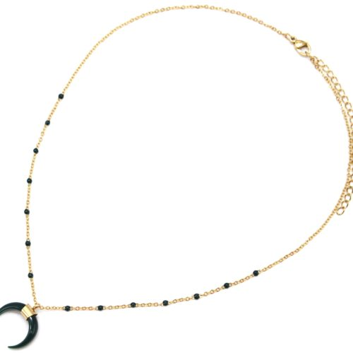 Collier-Fine-Chaine-Mini-Perles-Email-Vert-Sapin-et-Corne-Resine-Acier-Dore