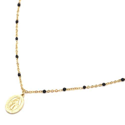 Collier-Fine-Chaine-Mini-Perles-Email-Noir-et-Ovale-Vierge-Marie-Acier-Dore
