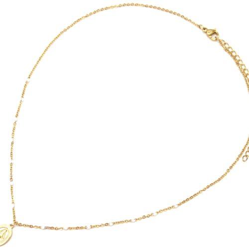 Collier-Fine-Chaine-Mini-Perles-Email-Blanc-et-Ovale-Vierge-Marie-Acier-Dore