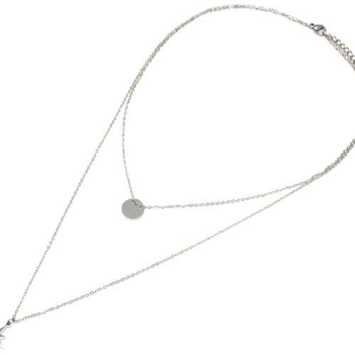 Collier-Double-Chaine-avec-Medaille-et-Etoile-Polaire-Acier-Argente