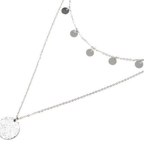 Collier-Double-Chaine-avec-Pampilles-et-Medaille-Martelee-Acier-Argente