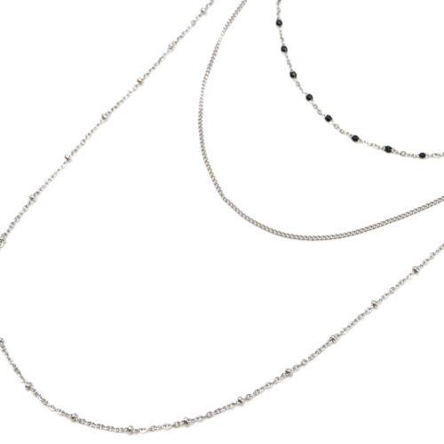 Collier-Triple-Chaine-avec-Mini-Perles-Email-Noir-et-Boules-Acier-Argente