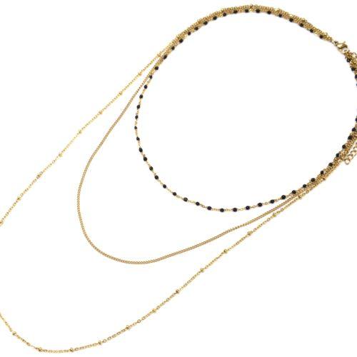 Collier-Triple-Chaine-avec-Mini-Perles-Email-Noir-et-Boules-Acier-Dore