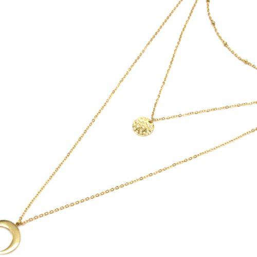 Collier-Triple-Fine-Chaine-avec-Boules-Medaille-Relief-et-Corne-Lune-Acier-Dore