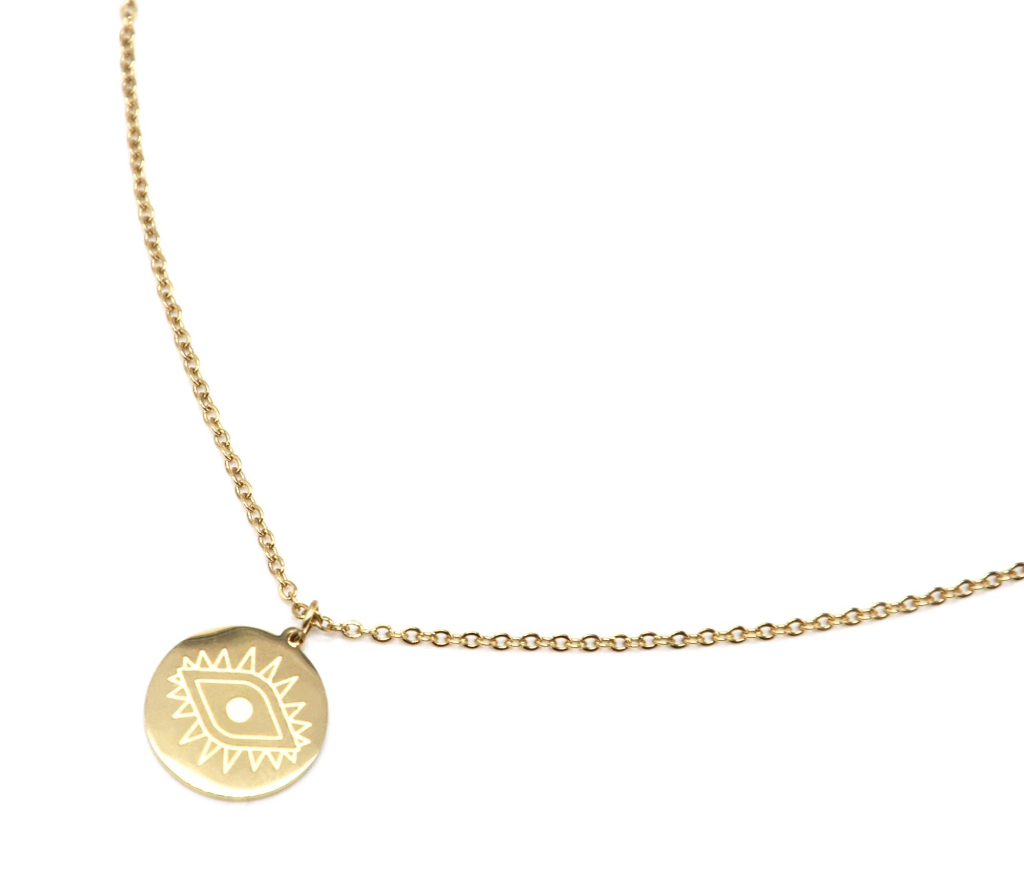 chercher comment avoir luxe CC2336F - Collier Fine Chaîne avec Pendentif Médaille Gravée Oeil Acier Doré