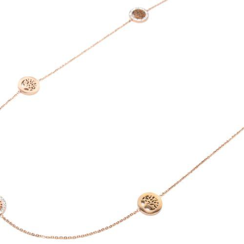 Sautoir-Collier-Fine-Chaine-avec-Charms-Cercles-Arbres-de-Vie-Acier-Or-Rose-et-Strass