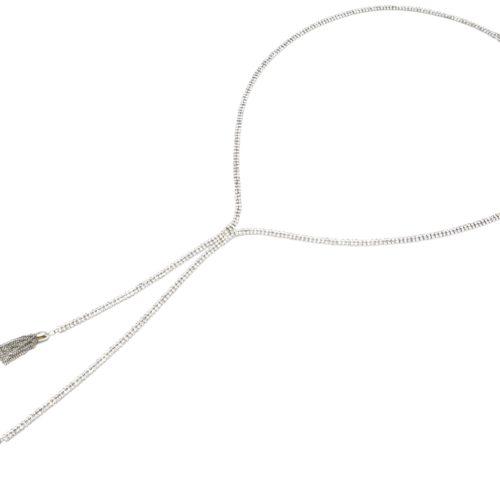 Sautoir-Collier-Style-Cravate-Bande-2-Rangs-Strass-et-Pompons-Metal-Argente